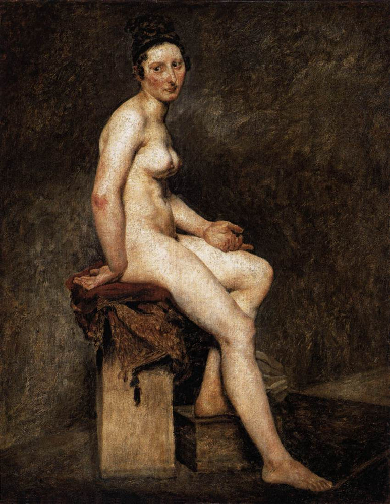 Seated Nude, Mademoiselle Rose by a Storm by Eugène Delacroix Reproduction Painting by Blue Surf Art