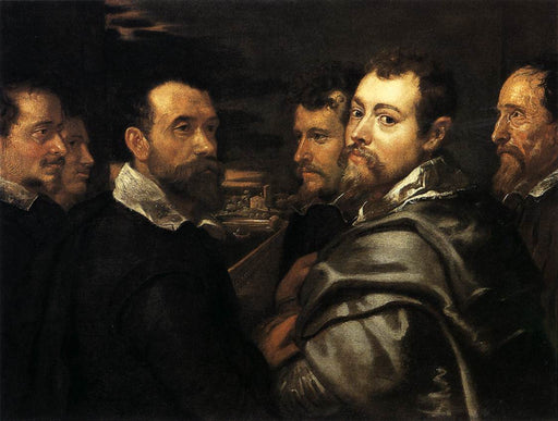 Self-Portrait in a Circle of Friends from Mantua by Peter Paul Rubens Reproduction Oil Painting on Canvas