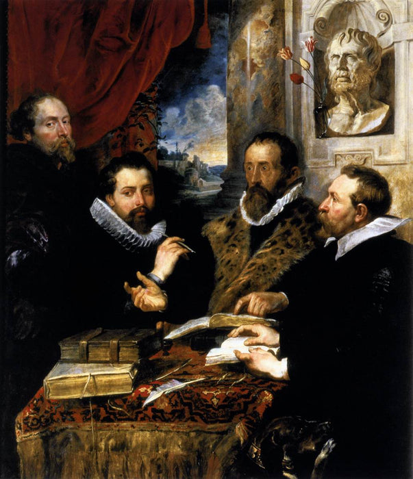 Selfportrait with brother Philipp, Justus Lipsius and another scholar by Peter Paul Rubens Reproduction Oil Painting on Canvas