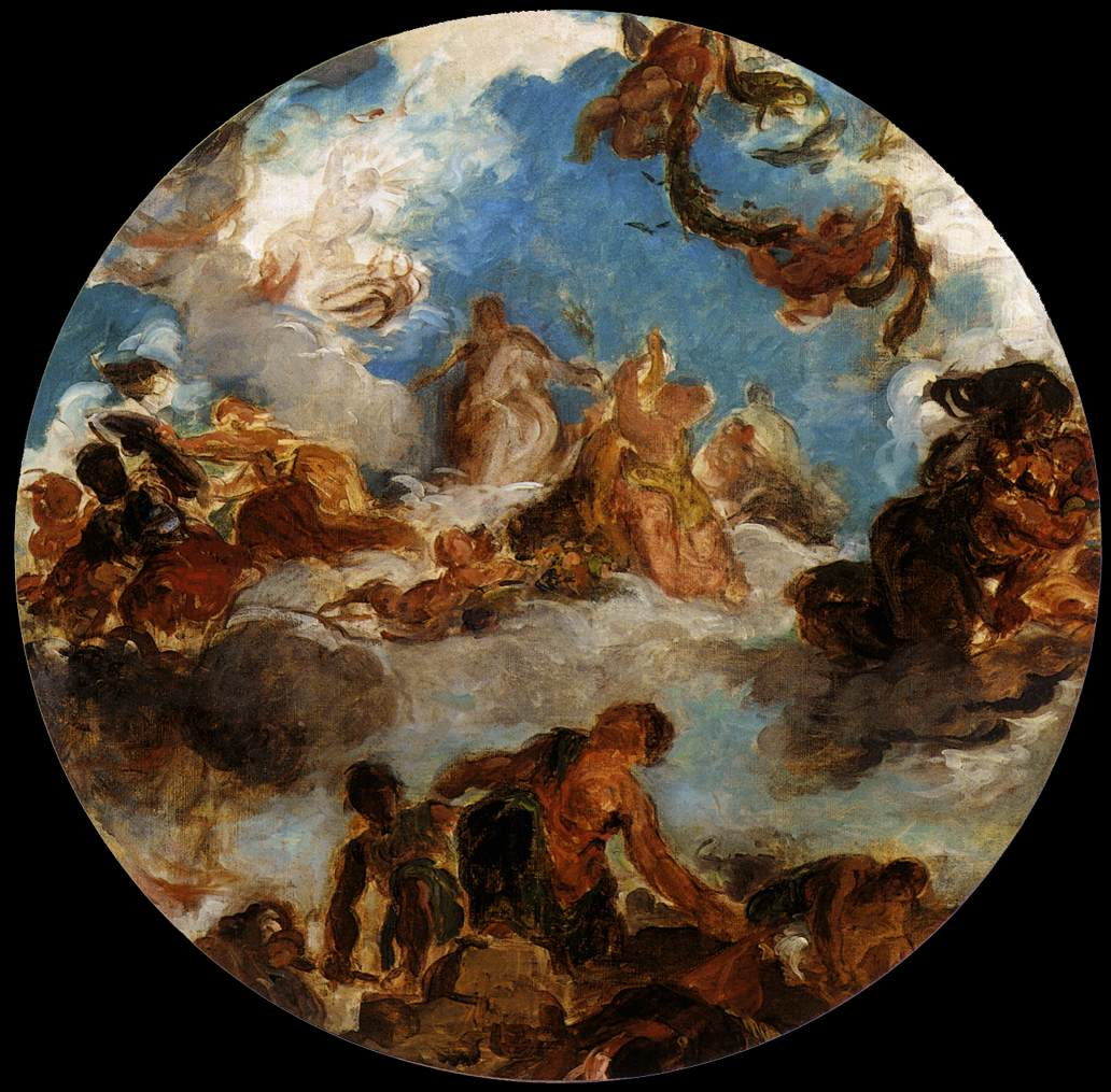 Sketch for Peace Descends to Earth by Eugène Delacroix Reproduction Painting by Blue Surf Art