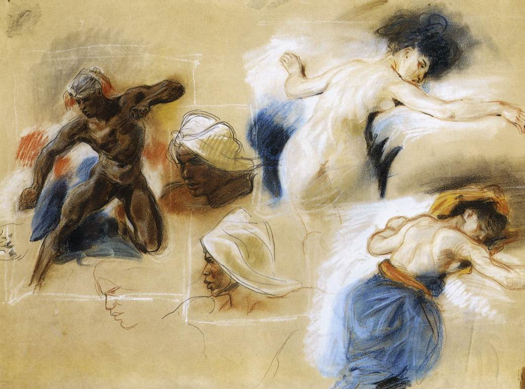 Sketch for The Death of Sardanapalus by Eugène Delacroix Reproduction Painting by Blue Surf Art