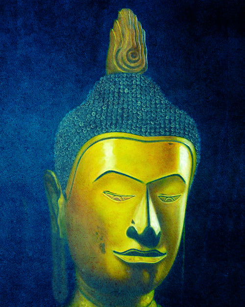 Indigo Buddha Portrait Oil Painting on Canvas
