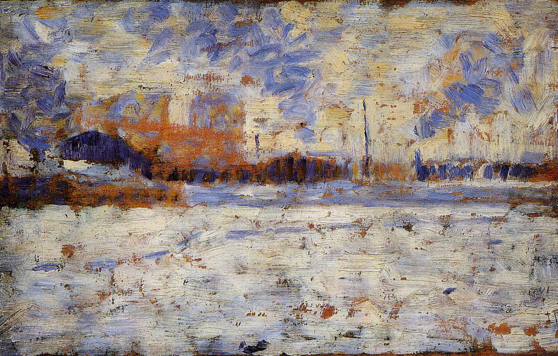 Snow Effect: Winter in the Suburbs by Georges Seurat Reproduction Painting by Blue Surf Art