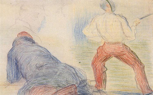 Soldier Fencing, Another Reclining by Georges Seurat Reproduction Painting by Blue Surf Art
