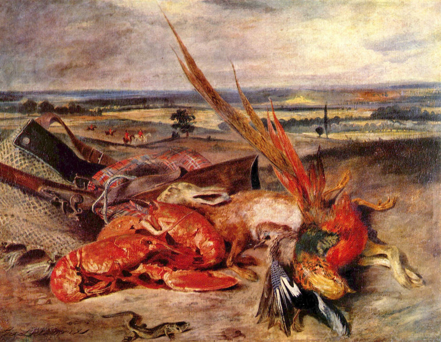 Still Life with Lobsters by Eugène Delacroix Reproduction Painting by Blue Surf Art