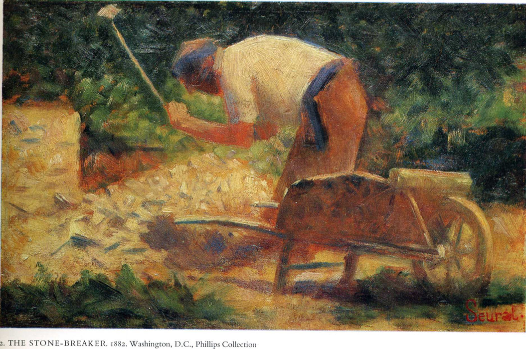 Stone Breaker and Wheelbarrow, Le Raincy by Georges Seurat Reproduction Painting by Blue Surf Art