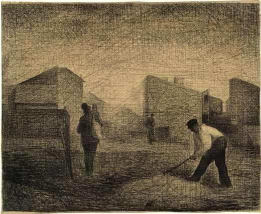Stone breakers, Le-Raincy by Georges Seurat Reproduction Painting by Blue Surf Art