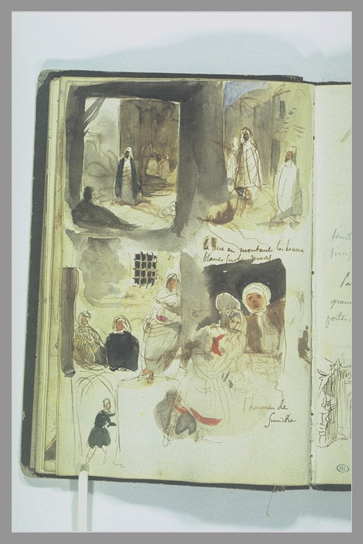 Streets and shops with characters, handwritten notes by Eugène Delacroix Reproduction Painting by Blue Surf Art