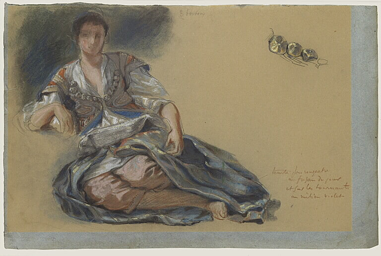 Study for the painting Women of Algiers by Eugène Delacroix Reproduction Painting by Blue Surf Art