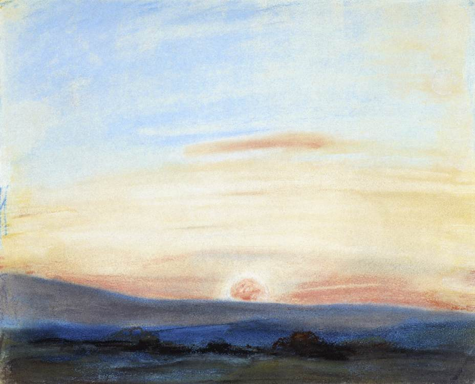 Study of Sky, Setting Sun by Eugène Delacroix Reproduction Painting by Blue Surf Art