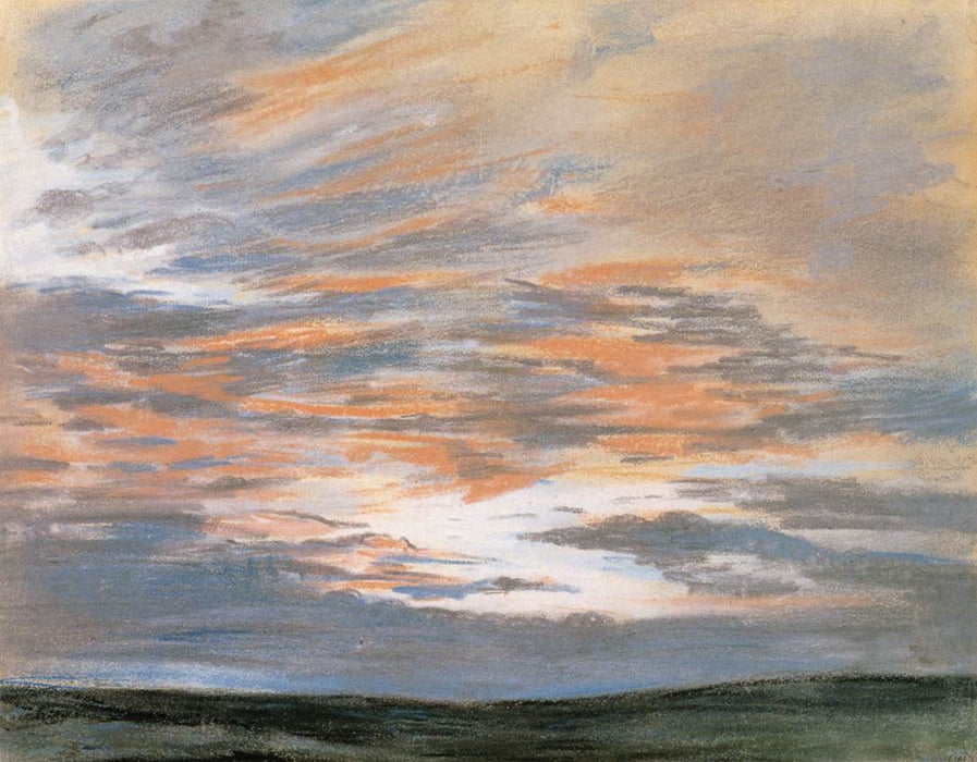 Study of the Sky at Sunset by Eugène Delacroix Reproduction Painting by Blue Surf Art