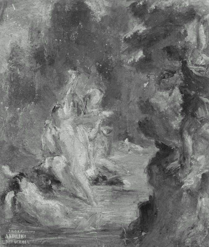 Summer Diana Surprised at her Bath by Actaeon by Eugène Delacroix Reproduction Painting by Blue Surf Art