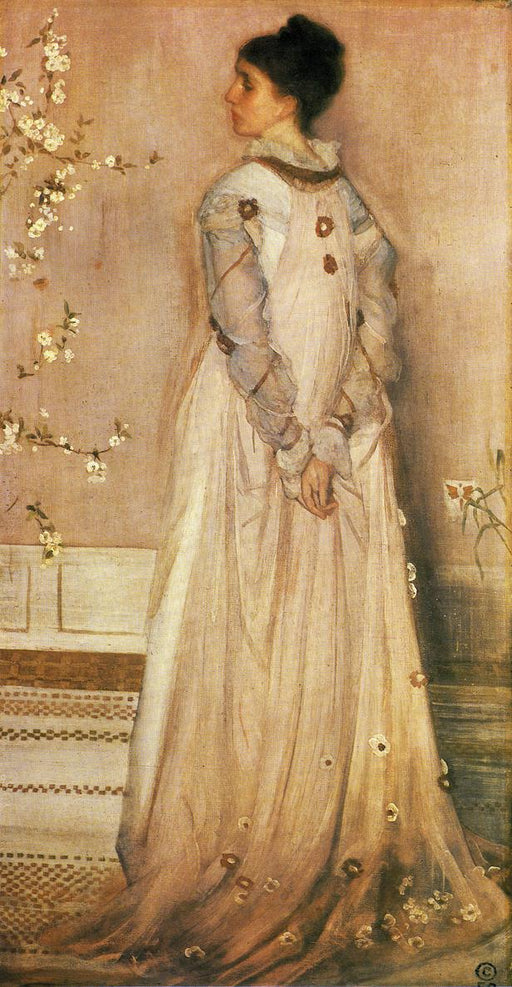 Symphony in Flesh Color and Pink: Portrait of Mrs. Frances Leyland by James Abbott McNeill Whistler Reproduction Painting by Blue Surf Art