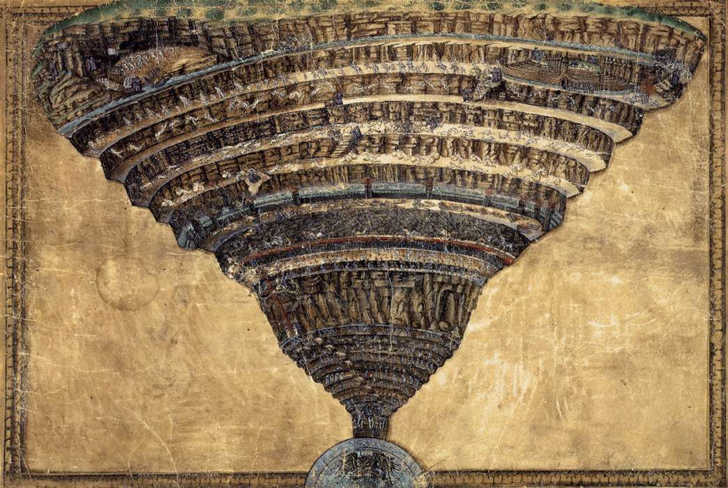 The Abyss of Hell by Sandro Botticelli I Blue Surf Art