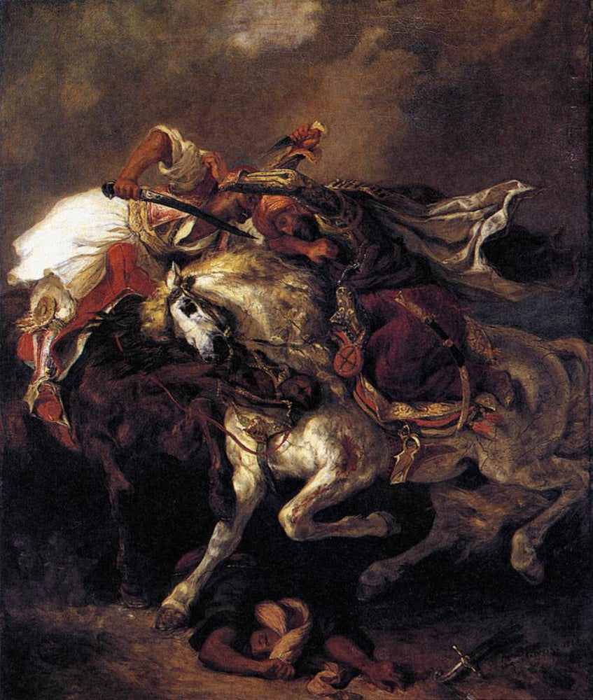 The Battle of Giaour and Hassan by Eugène Delacroix Reproduction Painting by Blue Surf Art