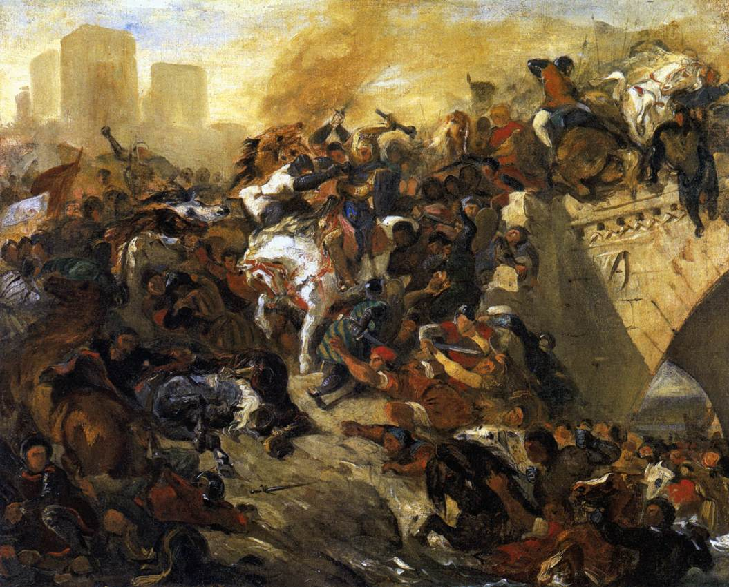 The Battle of Taillebourg - draft by Eugène Delacroix Reproduction Painting by Blue Surf Art