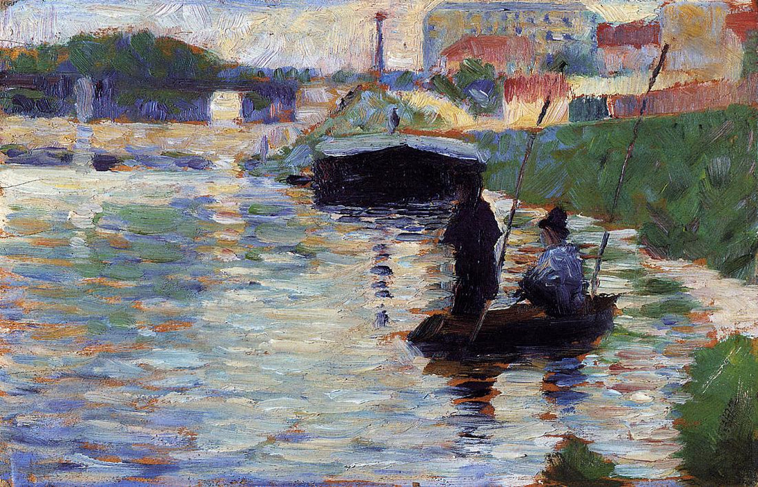 The Bridge - View of the Seine by Georges Seurat Reproduction Painting by Blue Surf Art