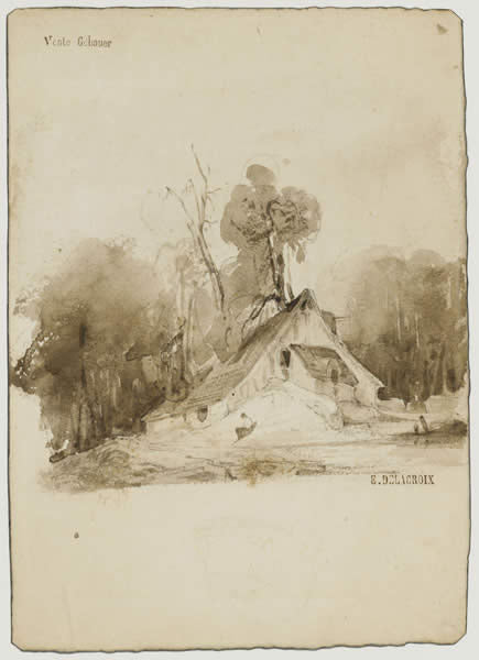 The Cottage in the grove by Eugène Delacroix Reproduction Painting by Blue Surf Art