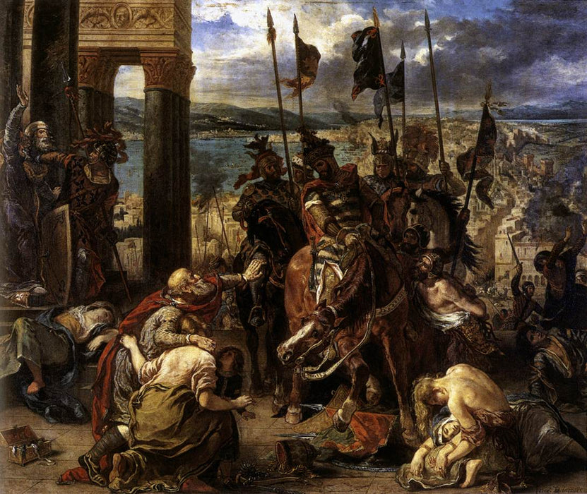 The Crusaders' entry into Constantinople, 12th April 1204, 1840 (oil on canvas) by Eugène Delacroix Reproduction Painting by Blue Surf Art