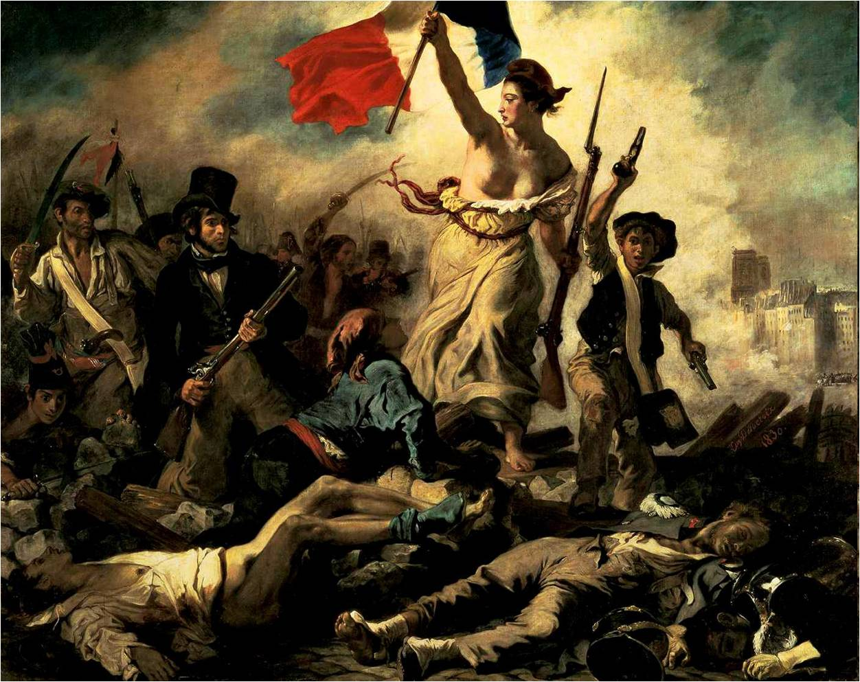 The Liberty Leading the People by Eugène Delacroix Reproduction Painting by Blue Surf Art