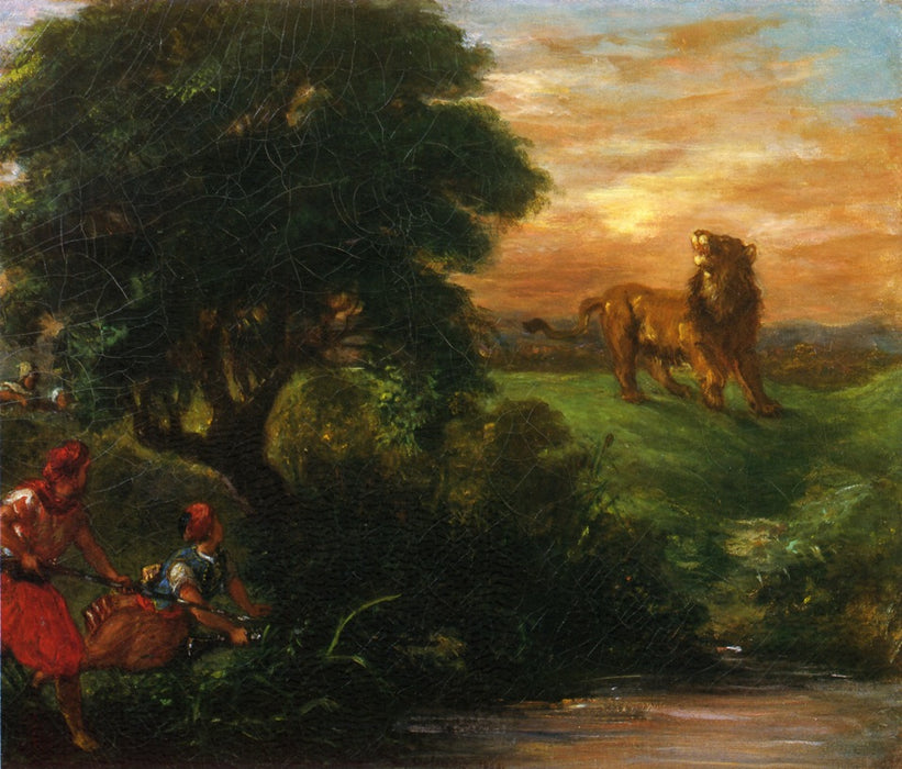 The Lion Hunt by Eugène Delacroix Reproduction Painting by Blue Surf Art
