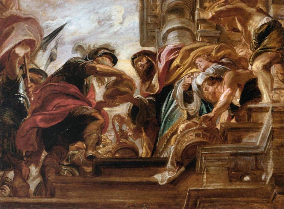 The Meeting of Abraham and Melchisede by Genii by Peter Paul Rubens Reproduction Oil Painting on Canvas