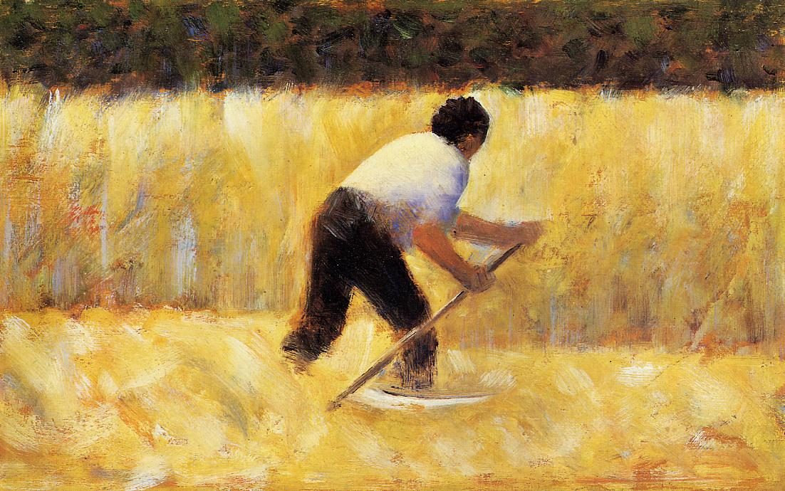 The Mower by Georges Seurat Reproduction Painting by Blue Surf Art