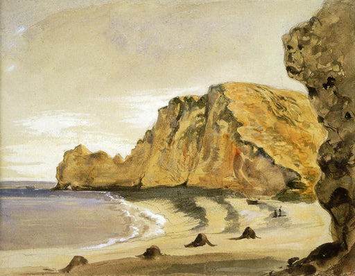The Porte d'Amont, Etretat by Eugène Delacroix Reproduction Painting by Blue Surf Art