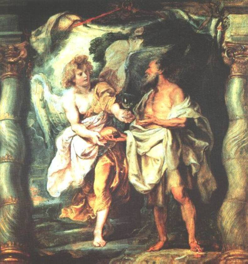 The Prophet Elijah Receiving Bread and Water from an Angel by Peter Paul Rubens Reproduction Oil Painting on Canvas