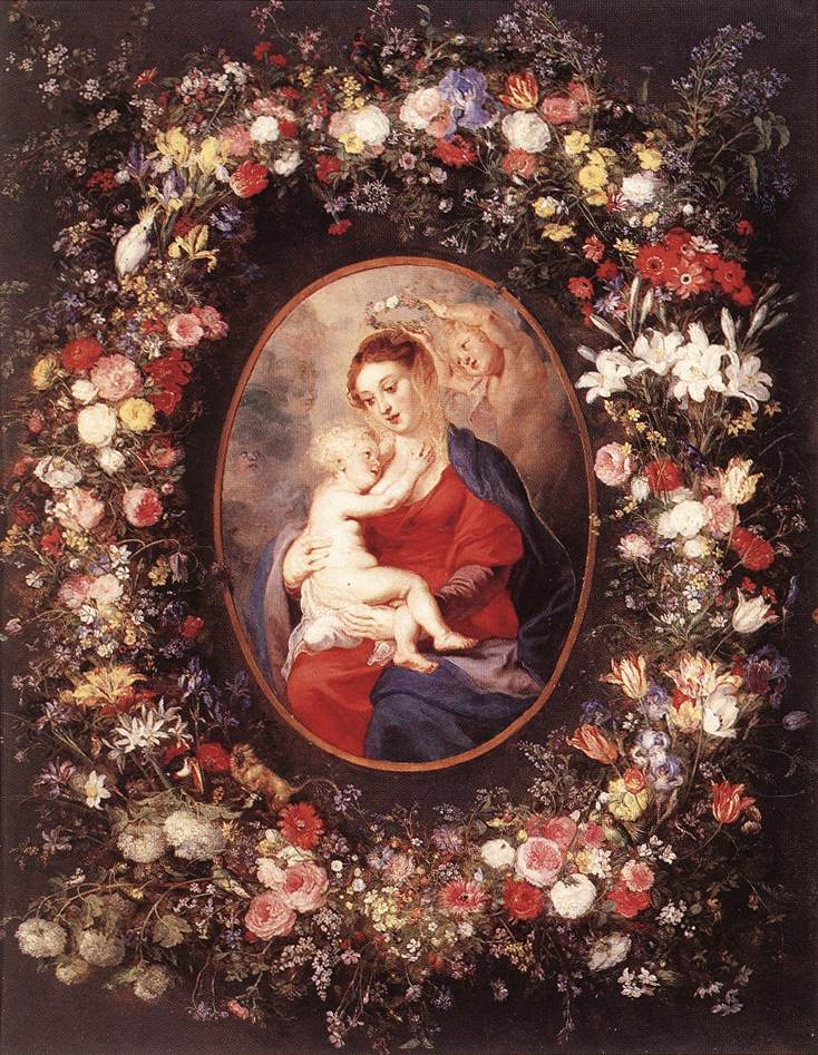 The Virgin and Child in a Garland of Flower by Peter Paul Rubens Reproduction Oil Painting on Canvas