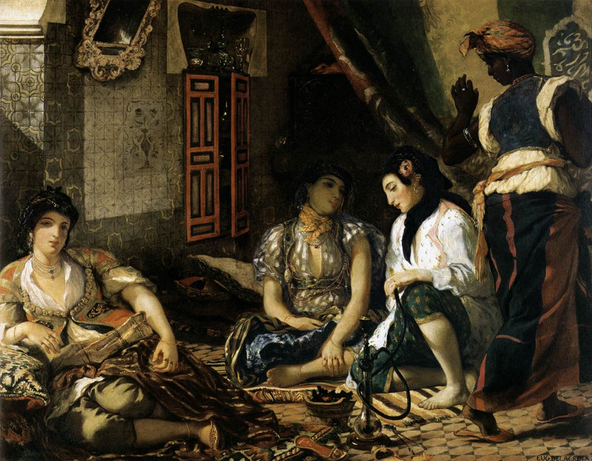 The Women of Algiers in their Apartment by Eugène Delacroix Reproduction Painting by Blue Surf Art
