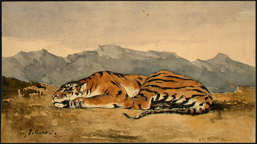 Tiger by Eugène Delacroix Reproduction Painting by Blue Surf Art