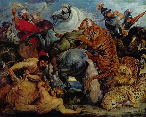Tiger and Lion Hunting by Peter Paul Rubens Reproduction Oil Painting on Canvas