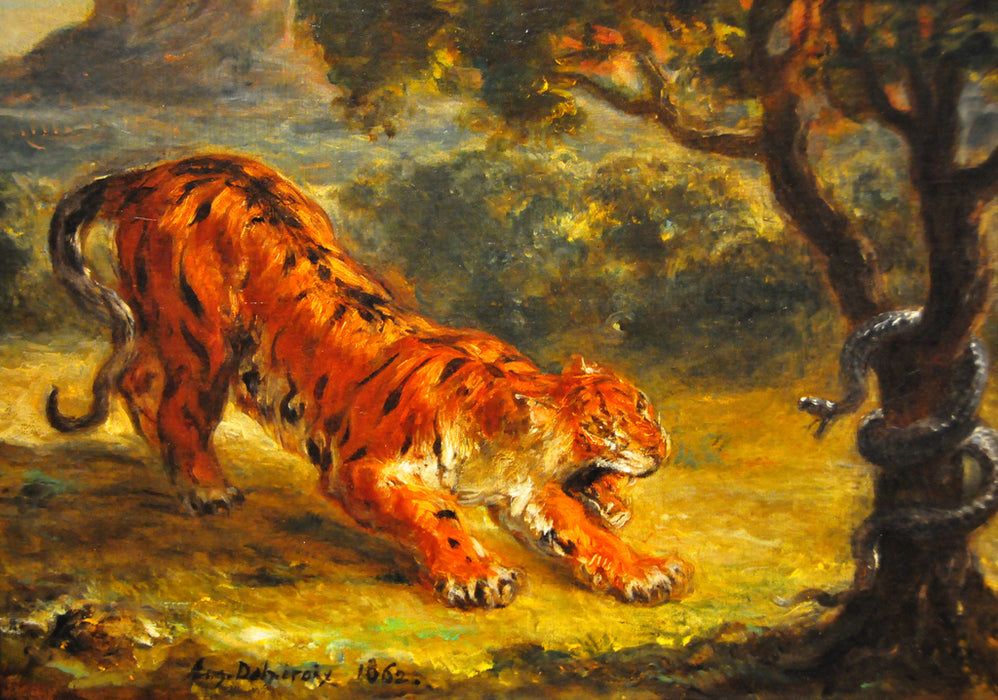 Tiger and Snake  by Eugène Delacroix Reproduction Painting by Blue Surf Art