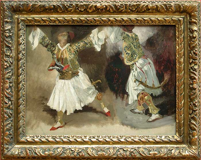 Two Greek warriors dancing (Study costumes Souliotes) by Eugène Delacroix Reproduction Painting by Blue Surf Art