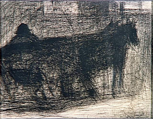 Two-horse hitch by Georges Seurat Reproduction Painting by Blue Surf Art