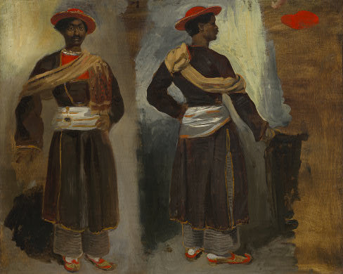 Two Views of a Standing Indian from Calcutta by Eugène Delacroix Reproduction Painting by Blue Surf Art