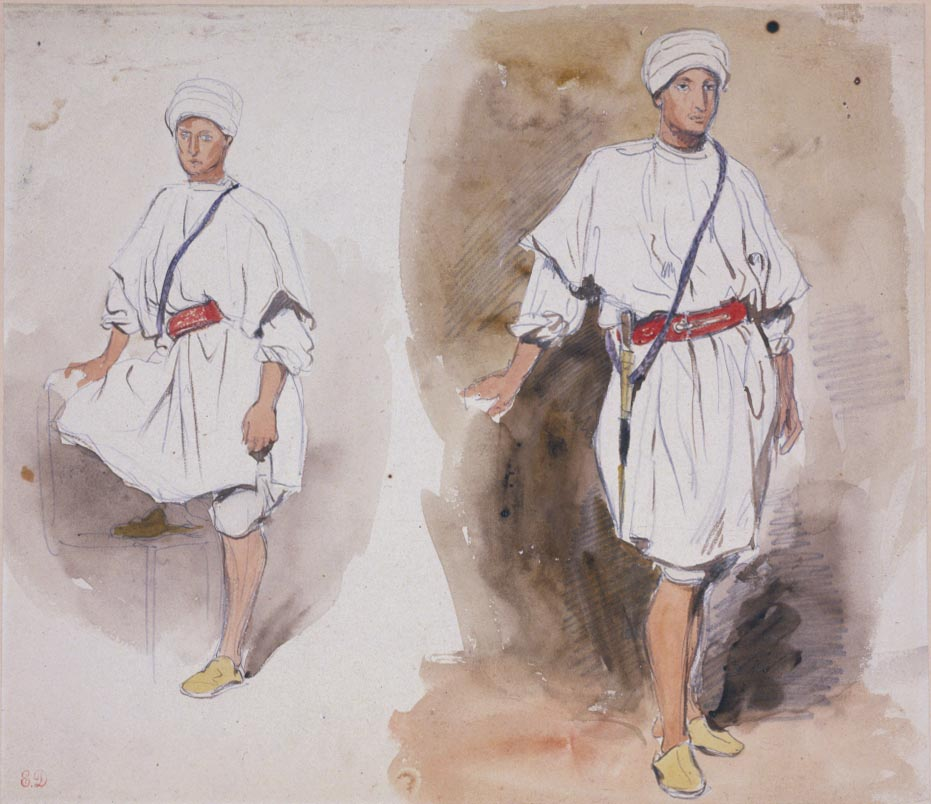 Two Views of a Young Arab by Eugène Delacroix Reproduction Painting by Blue Surf Art