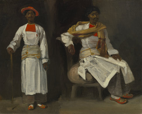 Two Views of an Indian from Calcutta, Seated and Standing by Eugène Delacroix Reproduction Painting by Blue Surf Art