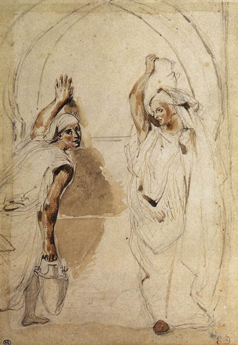 Two Women at the Well by Eugène Delacroix Reproduction Painting by Blue Surf Art