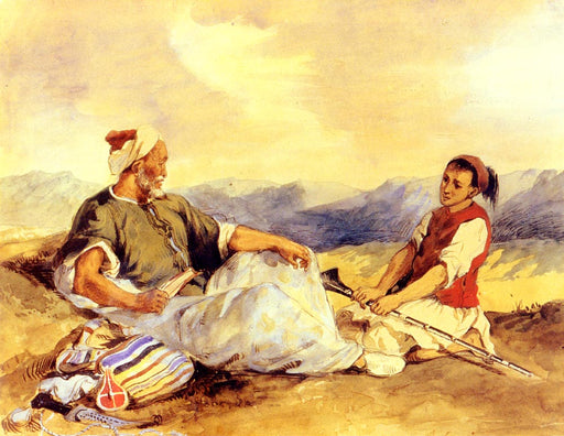 Two Moroccans Seated In The Countryside by Eugène Delacroix Reproduction Painting by Blue Surf Art