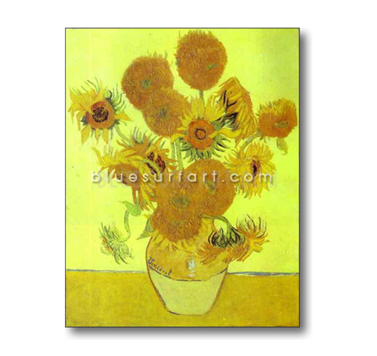 Sunflowers Reproduction in Oil Painting on Canvas by Blue Surf Art 5