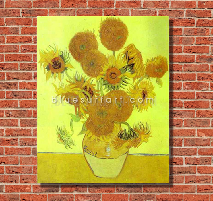 Sunflowers Reproduction in Oil Painting on Canvas by Blue Surf Art 1