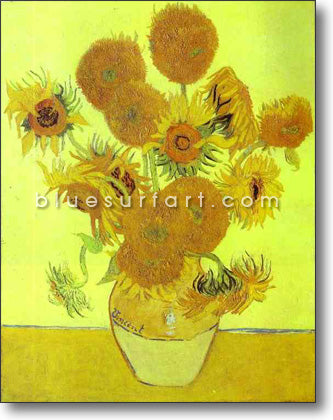 Sunflowers Reproduction in Oil Painting on Canvas by Blue Surf Art