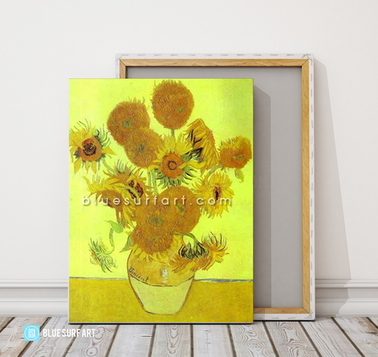 Sunflowers Reproduction in Oil Painting on Canvas by Blue Surf Art 4