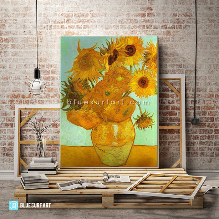 Twelve Sunflowers in a Vase Oil Painting on Canvas  - loft