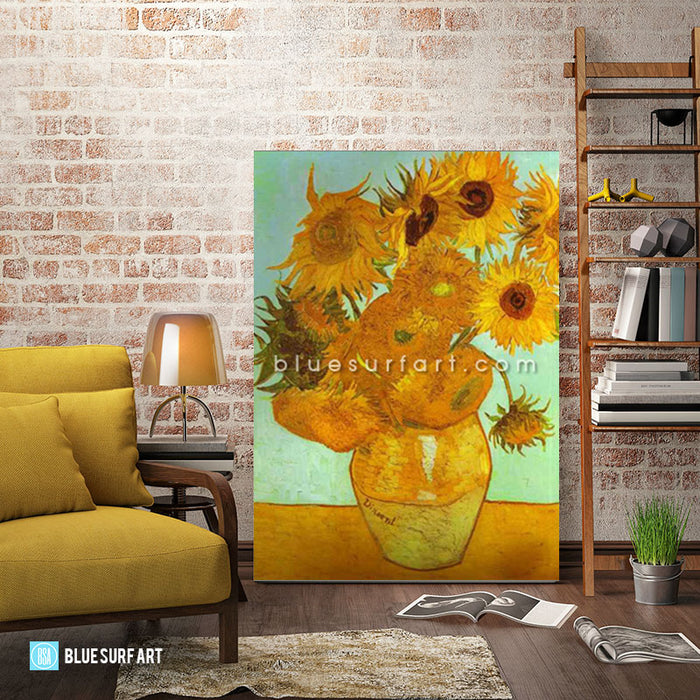 Twelve Sunflowers in a Vase Oil Painting on Canvas  - living room