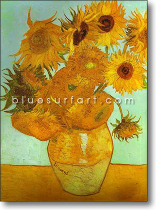 Twelve Sunflowers in a Vase Oil Painting on Canvas
