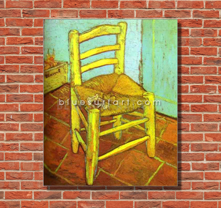 Vincents Chair with Pipe Reproduction in Oil Painting on Canvas I BSA 1