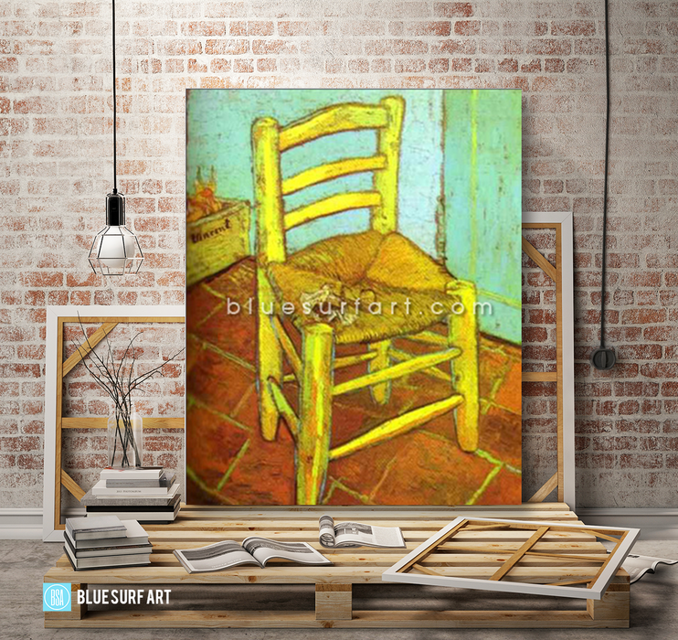 Vincents Chair with Pipe Reproduction in Oil Painting on Canvas I BSA 3